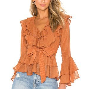 House of Harlow 1960 Quintana Blouse in Peach